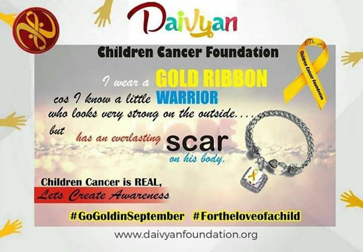 A gold ribbon in the month of September #GoGoldForChildrenCancerAwareness